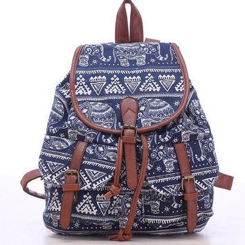 Elephant Drawstring Canvas Backpack