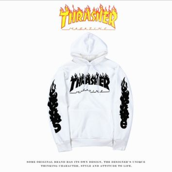 THRASHER Flame sweater Hoodie Tide men and women on the streets of long-sleeved loose-fitting sleeve jacket personality White