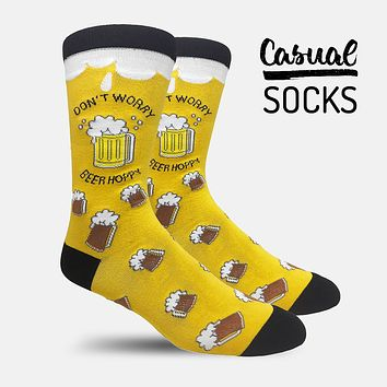 Don't Worry Yellow Casual Socks