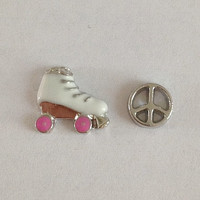 Floating charms for living memory lockets - roller skate, silver peace sign