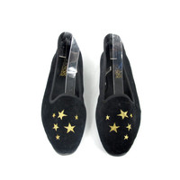 80s Black Velvet Loafers Star Embroidered Slippers Slip On Flats Vegan Womens Vintage Shoes (7.5)