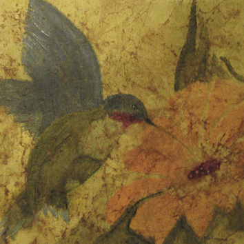 Yellow Hummingbird Painting Watercolor Batik on Japanese Rice Paper
