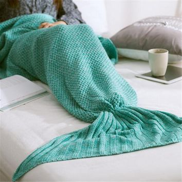 Knitted Mermaid Tail Blanket Handmade Crochet Gift