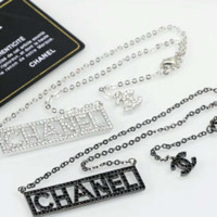 Chanel letter shining rhinestone necklace