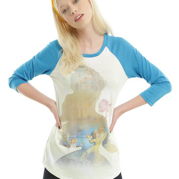 Disney Beauty And The Beast Sublimated Girls Raglan