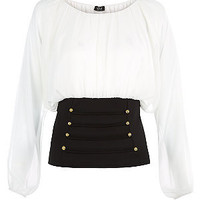 V London White and Black Nautical Button Panel Blouse