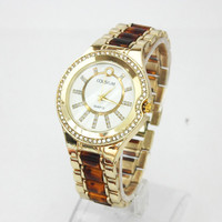 Thank You Card Woman Stainless Steel Fashion Wristwatch Dress Leoprad band Gold Watch