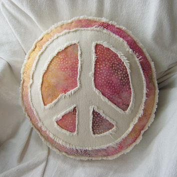 Peace sign applique boho pillow on multi color batik with magenta, yellow gold, taupe, and distressed natural denim round accent pillow