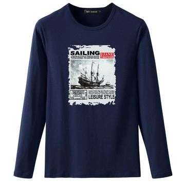 Track Ship + Vintage Retro Rock&Roll Punk Style T-Shirts Pirate Ship tshirts Brand Slim Fit T Shirts Spring Boy Gift Tops Tees