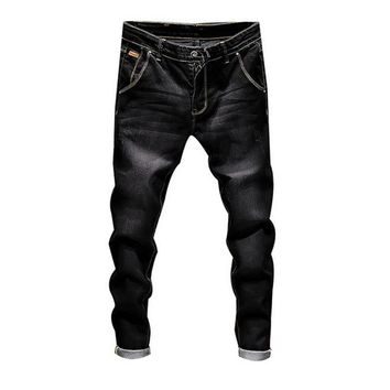 Laamei Plus size Men's Fashion Jeans Business Casual Stretch Jeans 2019 Spring Skinny Denim Pants Trousers Male Clothes Bottoms
