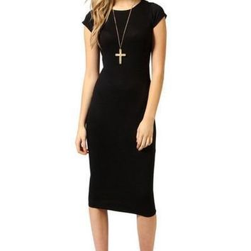 Clothing  Style Dress Jersey Black Slim Party Bodycon Dresses Knee Length