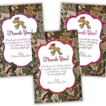 Camo Baby Shower Thank You Card - Woodland Camouflage Baby Shower Thank You Tag Deer Baby Shower Thank You Doe Baby Shower Party Favor Tags