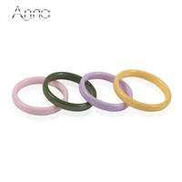 A&N Simple Ceramic Ring For Women Cute Thin Pick Ceramic Rings Green&Yellow&Pink&Purple Color Unique Wedding Engagement Ring