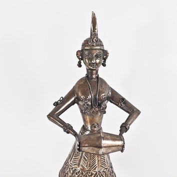 12'' Indian Vintage Statue Sculpture, India Hindu Statue, Musician Sculpture Playing a Drum, Silver Plated Figurine, Tribal, Home Decor