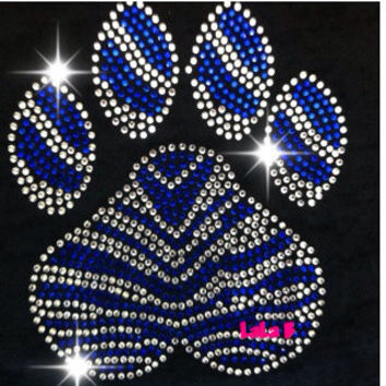 Paw print iron on hot fix rhinestone transfers - DIY zebra paw mascot school team logo