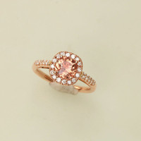 Padparadscha Color Spinel 14k Rose Gold Diamond Halo Gemstone Engagement Ring Sapphire Alternative Weddings Anniversary