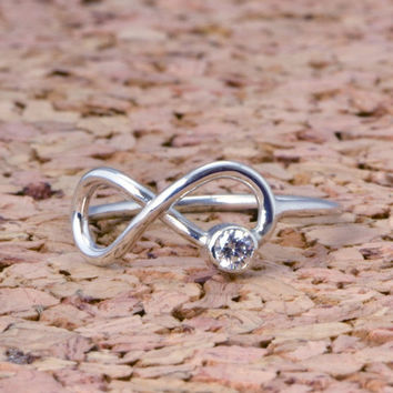 FALL SALE Infinity Birthstone Ring - Promise Ring - Friendship Ring - Infinity Knot Jewelry - Infinity Knot Ring - Birthstone Jewelry