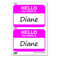 Diane Hello My Name Is - Sheet of 2 Stickers