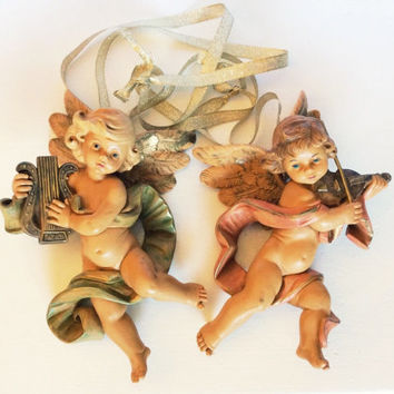 Vintage Italian Depose Simonelli Cherub Angel Musical Figurine Wall Hanging Fontanini Nativity