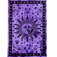 Purple Psychedelic Sun Face Tapestry - RoyalFurnish.com