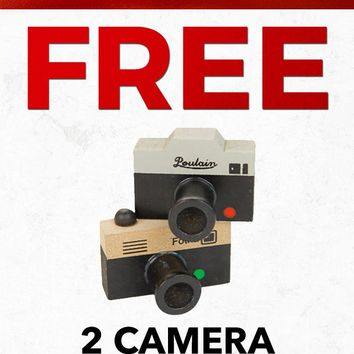 Christmas Free PFSTAMPA Set Of 2 Photo Camera Rubber Stamps Gift with Purchase