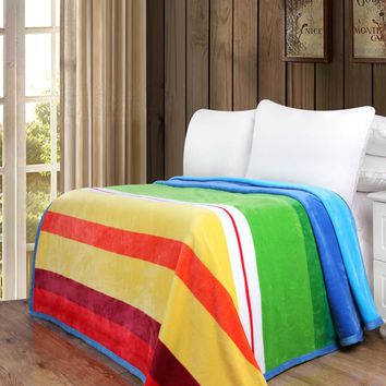 Colorful Striped Rainbow Reversible Soft Warm Cozy Plush Luxe Flannel Fleece Throw Blanket (XY9867)