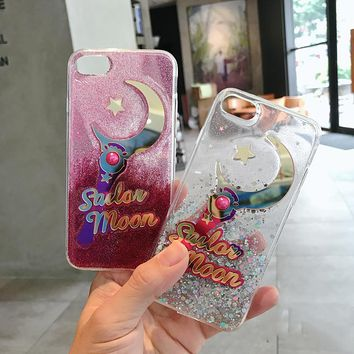 Cartoon gradient color girl love sailor moons Star bow pearl magic wand brilliant glitter paillette case For Iphone 6 6S 7 PLUS