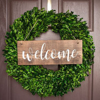 Welcome Sign For Front Door - Wreath Sign - Outdoor Sign - Wood Sign - Home Decor - Front Yard Sign - Brown Sign -Front Door Sign