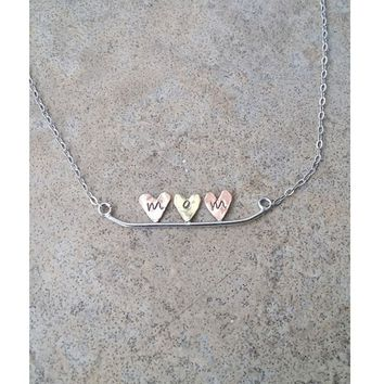 Mom Heart Necklace - Copper-Brass-Copper on Sterling Silver