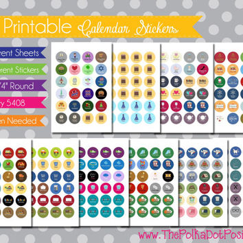 "NEW {Printable} Calendar and Planner Stickers - 3/4"" Circle - INSTANT DOWNLOAD"