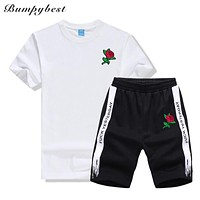 Men's Sets Sportswear Men Clothes New Tracksuit Loves Rose flower print t shirts Short Sleeve