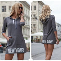 Gray Printed Hem Hoodie Dress