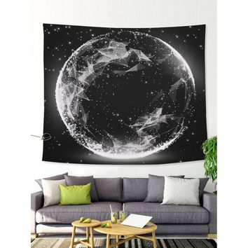 Round Galaxy Print Tapestry