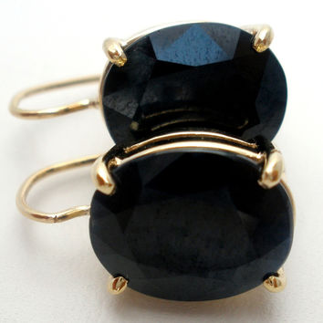 14K Gold Black Onyx Leverback Earrings
