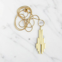 Vertical brass bars necklace