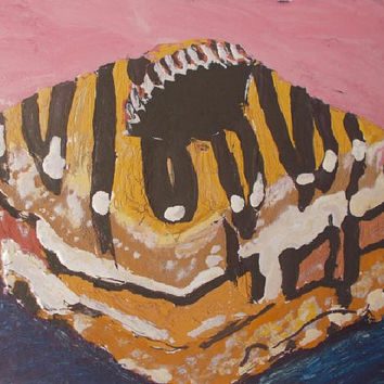 Cake Chocolate Aceo Original Acrylic painting  art  Still life Aceo size 6.40 / 8.96 cm / .2.5 x 3.5 Inch