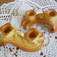Weller R-16 Candle Holder Pair Burnt Orange