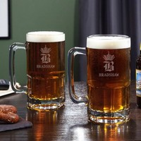 King of Steins Personalized Colossal Beer Mugs, Set of 2