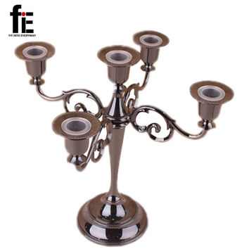 Free shiping Silver/Gold/Black/Bronze metal candle holder 5-arms candle stand 27cm tall wedding event candelabra candle stick