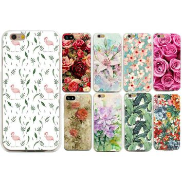 Case Of Leaves On Print For Apple iPhone 7 Plus 5 5S 6 6S 7 8 Plus X Cases For Women Luxury Floral Rose Back Cover Fundas Capa