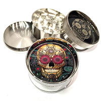 """Day of the Dead Paisley Sugar Skull 3 Piece Silver Alumium Grinder 2"""" Wide Colorful"""