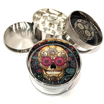 "Day of the Dead Paisley Sugar Skull 3 Piece Silver Alumium Grinder 2"" Wide Colorful"