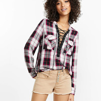 berry and black plaid lace-up shirt