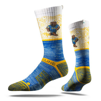 Strideline® 2.0 Bruin Bear Detail, UCLA Bruins White–Gold–Blue Crew Socks