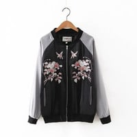 2016 Trending Fashion Floral Printed Women Baseball  Sweater Cardigan Coat Jacket Outerwear _ 9803
