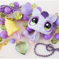 Littlest Pet Shop Flying Squirrel Necklace with Umbrella Pendant, Chartreuse Green and Purple Beaded Chain in Gold