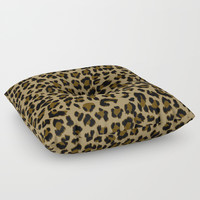 Leopard Print Pattern Floor Pillow by Smyrna