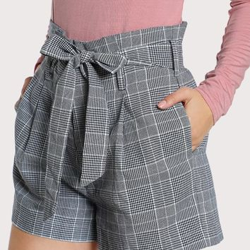 Tie Waist Inseam Pocket Side Shorts