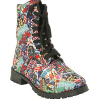 Marvel Comic Print Combat Boot