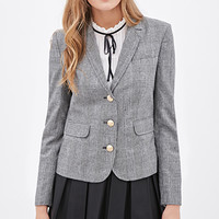 LOVE 21 Glen Plaid Blazer Black/Ivory